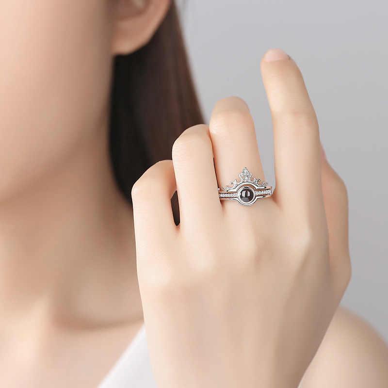 Oro rosa y plata 100 idiomas te amo anillo de proyección romántico amor memoria anillo de boda joyería Dropshipping