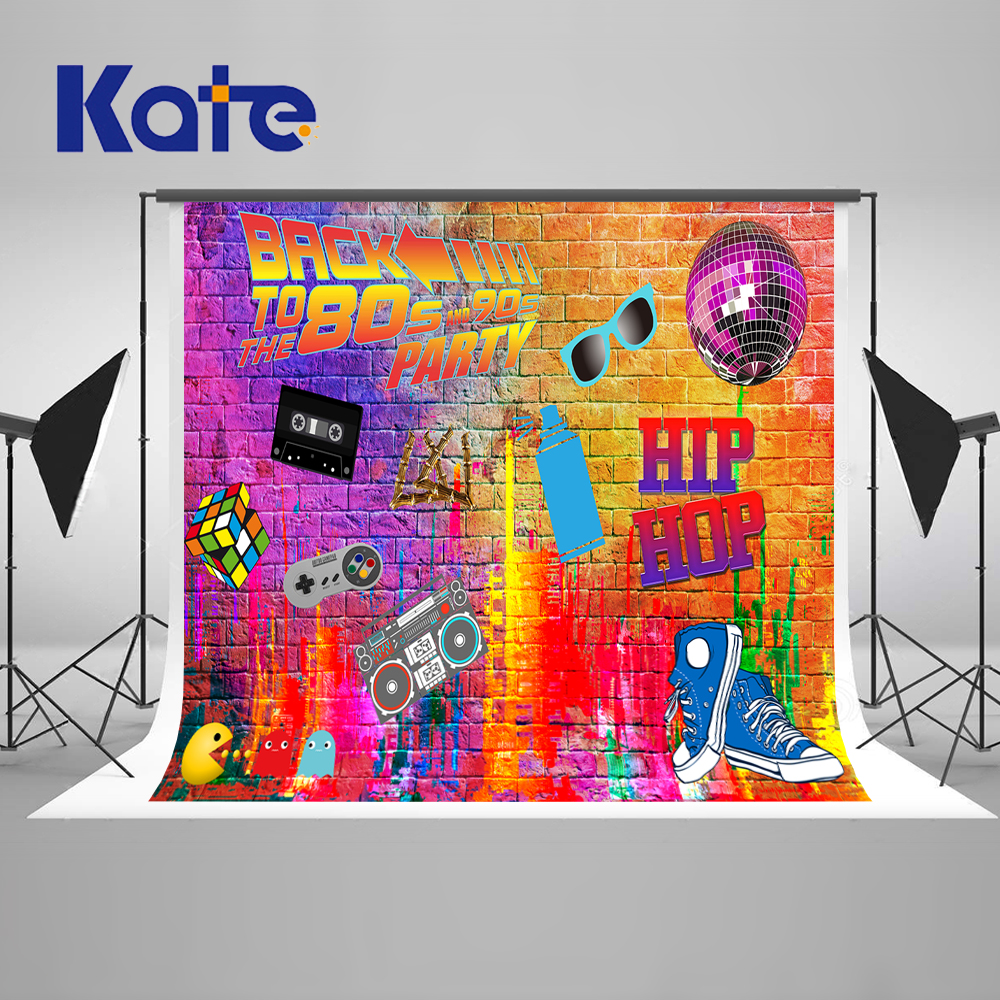 Kate Graffiti Wall Photography Backdrops 300cm Back To 80S' Fashion Art Studio Background Backdrop Radio Shoes Party Backdrop 600cm 300cm background large courtyard in front of people photography backdropsvinyl photography backdrop 3383 lk