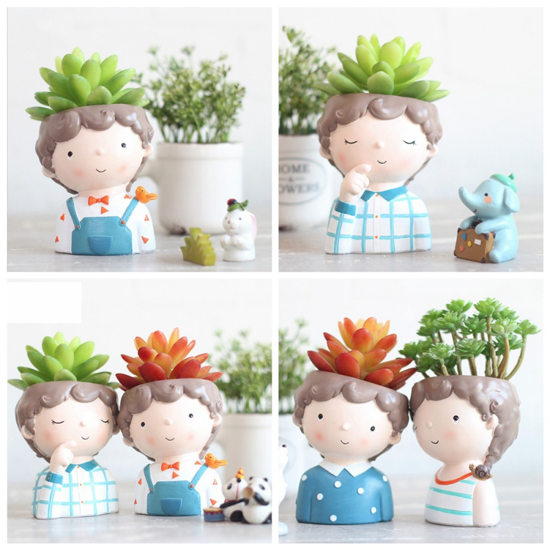 Succulent Plant Pot Cartoon Cute Boy Mini Flower Pot Creative Design Planters Small Bonsai Flower Pot Home Office Desk Decor