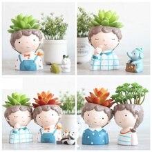 Succulent Plant Pot Cartoon Cute Boy Mini Flower Creative Design Planters Small Bonsai Home Office Desk Decor