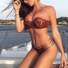 Hot New Feshion Mulheres Sexy Bikini Set Dividir Swimwear Stampin Quente Esporte Swimwear Push Acolchoado Swimsuit Gota Compras I301214(China)
