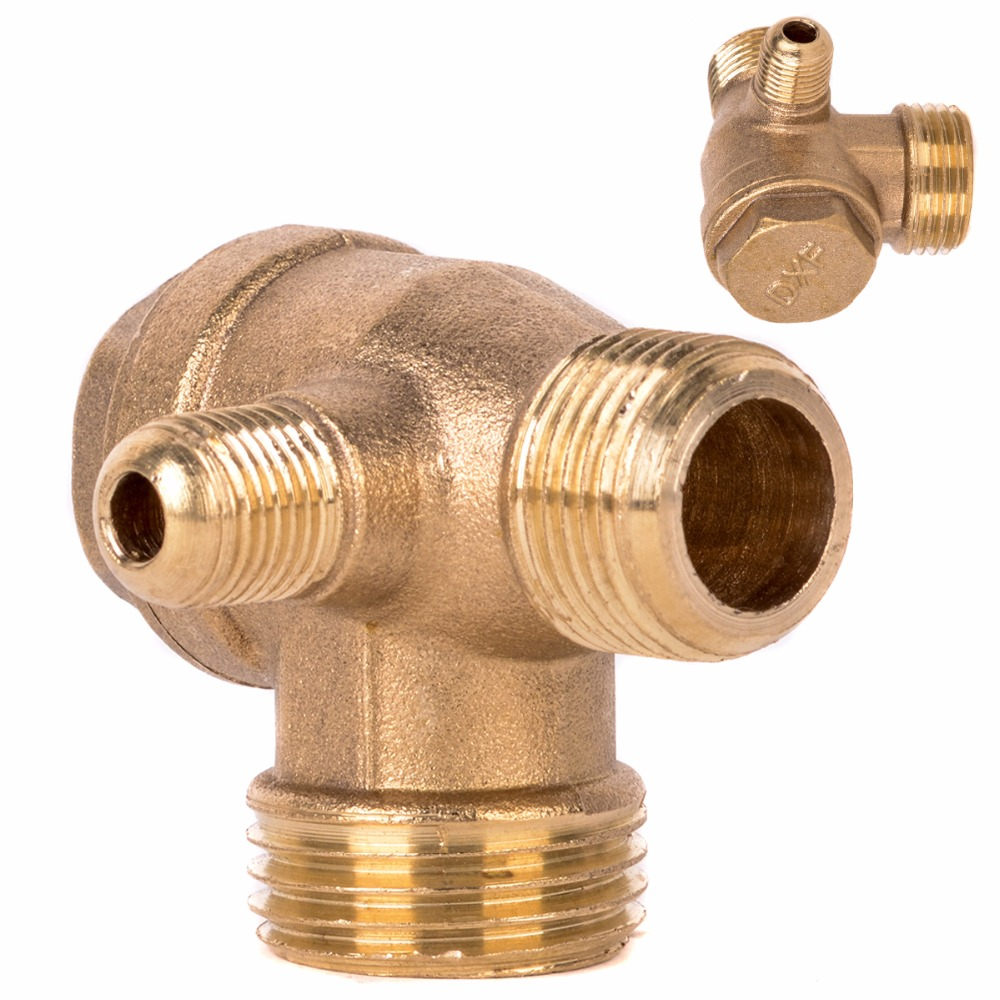 1pc New 3 Port Check Valve Brass Male Thread Check Valve Connector Tool For Air Compressor 1