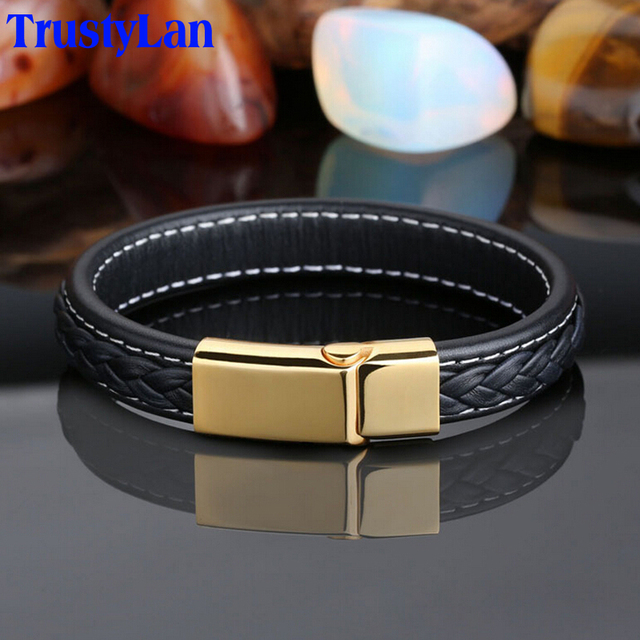 522e48b3a38d TrustyLan genuino negro de cuero pulsera para hombre de acero inoxidable de  la joyería de los