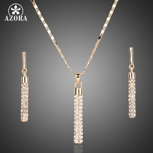 AZORA Gold Color Clear Austria Crystals Drop Earrings and Pendant Necklace Jewelry Sets TG0007
