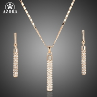 18K Real Gold Plated SWA ELEMENTS Drop Earrings And Pendant Necklace Sets FREE SHIPPING Azora TG0007