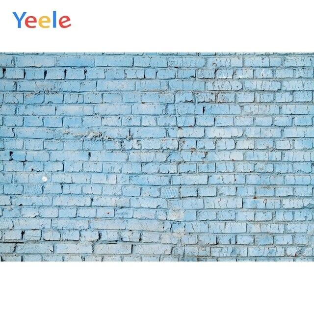 Fondos fotográficos personalizados de pared de ladrillo azul Yeele para sesión de fotos de bebés