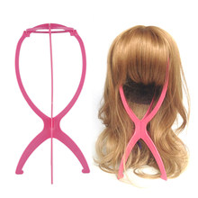 1 st Roze Plastic Pruik Stands Salon Folding Duurzaam Haar Pruik Hoed Roze Mode Model Dummy Hoofd Holder Stand Weergave styling Tool(China)