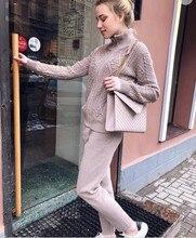 2019 Cashmere Knitting Women Tracksuits Fashion Hemp Flowers Cotton 2 Piece Suit Set Winter Coat Pant Wool