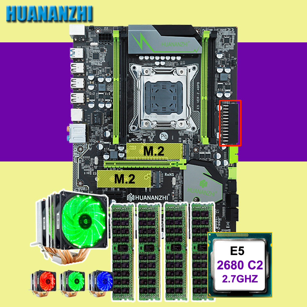 Discount motherboard combos HUANANZHI X79 Pro motherboard with dual M.2 slot CPU Intel Xeon E5 <font><b>2680</b></font> 2.7GHz with cooler RAM 4*16G image