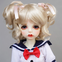 Cateleya 2018 new hot BJD SD doll wig Gold Short curly hair short hair ponytail 1/4 1/6 doll hair doll accessories