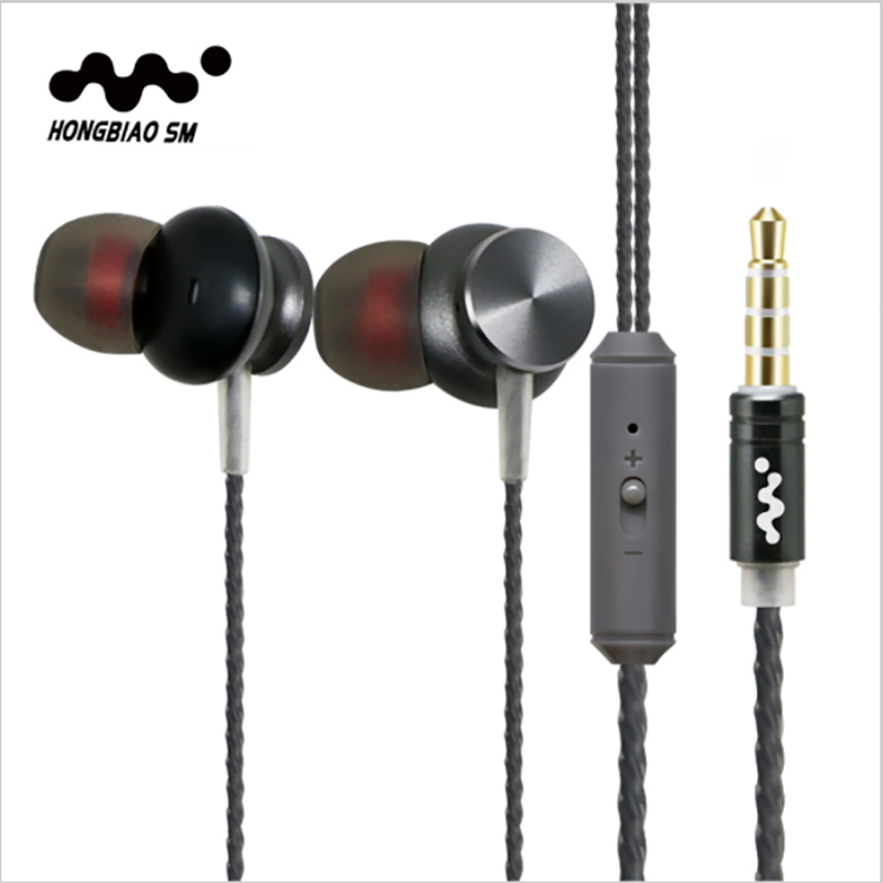 100% Original HONGBIAO SM Q2 Metal In-ear Earphone With Microphone Stereo HIFI DJ sports phone universal headset sm devicenet sm universal sm applications sm ethernet used 100% tested with free dhl ems