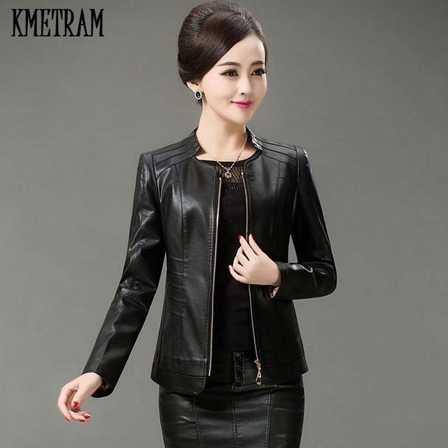 89b94f86af7 KMETRAM 5XL Spring Autumn Black Leather Jacket Women 2018 Middle Age  Fashion Slim Short Coat PU
