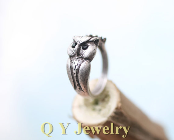 Fashion Vintage Silver Boho Chic Mid Finger Owl Ring Hippie Brass Knuckle Punk Retro Animal Wedding rings For Men Women