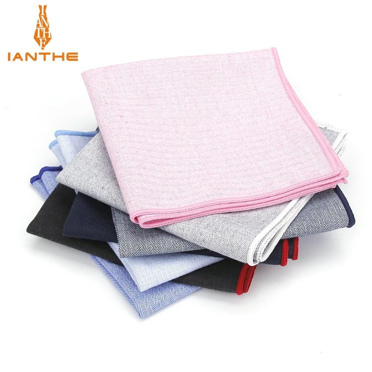 High Quality Classic Suits Solid Pocket Square 25cm*25cm Men's 100% Cotton Handkerchiefs Chest Towel Hankies Accessories Gift