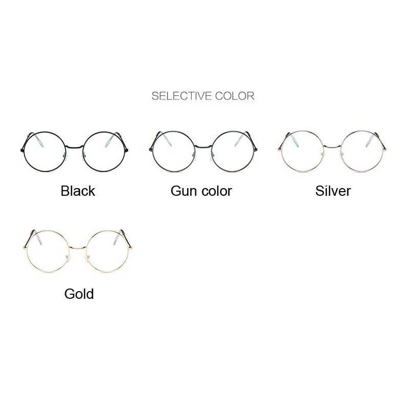 Retro Kacamata Bulat Wanita Optik Transparan Bingkai Kacamata dengan Jelas Vintage Oval Kaca Wanita Tontonan