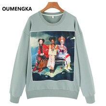 91dbd6ec OUMENGKA осень-зима Новый Harajuku Забавный спортивный костюм с героями  мультфильмов для Для женщин пуловер