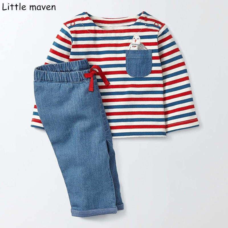 Little maven children's sets 2017 new autumn boys Cotton striped brand long sleeve pocket bird funny t shirt + jeans 20143 little maven kids brand clothes 2017 new autumn baby girls clothes cotton bird printing girl a line pocket dress d063