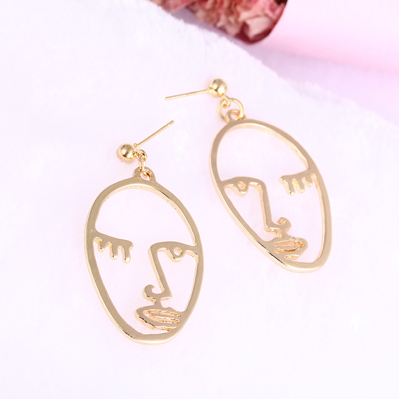Girls Choice Earrings Retro Metal Alloy Fashion Abstract Hollow Out Dangle Earrings New earring Face 2019 New Hot02
