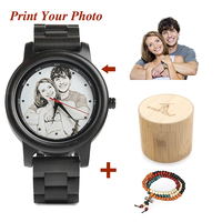 BOBO BIRD Photo Customized on Wood Watch Dial with Bamboo Gift Box UV Print Technology