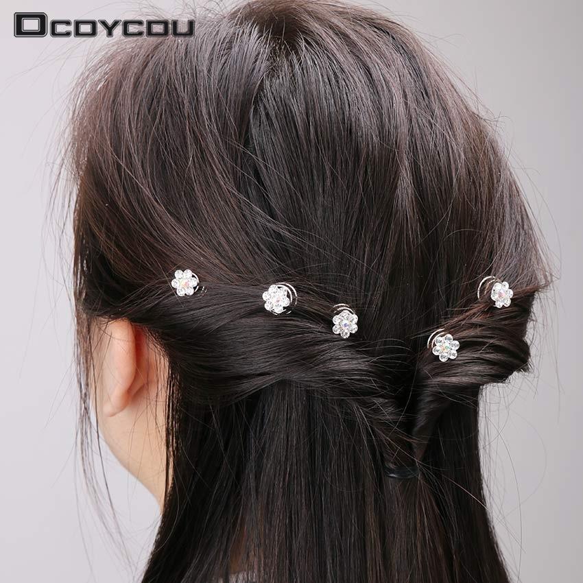 12PCS Wedding Prom Rhinestone Headpieces Hairgrips Bright Crystal Crown Flowers Spiral Hairpins Headwear For Women