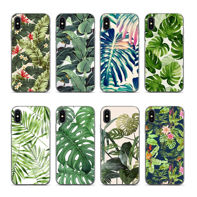 Aiboduo Tropical Leaf Wallpaper Soft Silicone Cover Case For Iphone