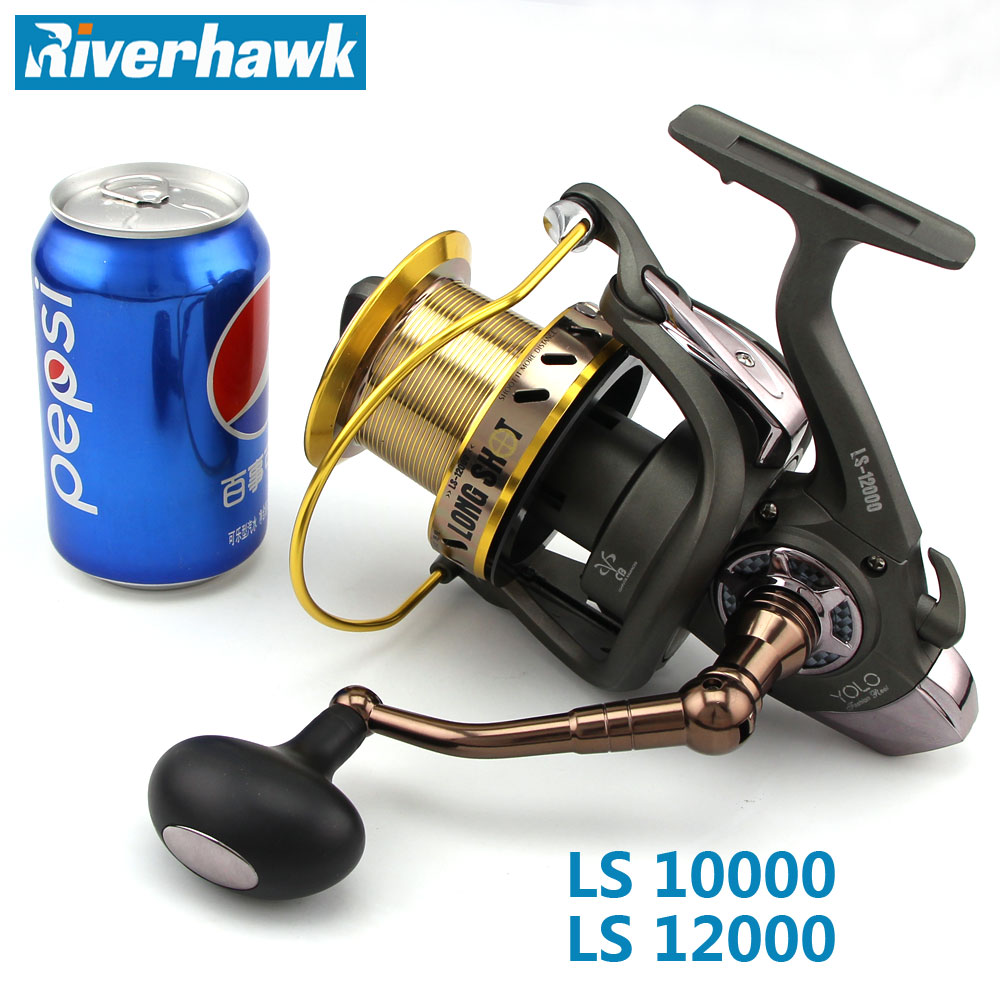 RiverHawk 10000/12000 Series Big Size Long Shot Fishing Reel Worm Shaft Distant Wheel 13+1 BB Jigging Trolling Casting Saltwater-in Fishing Reels from Sports & Entertainment