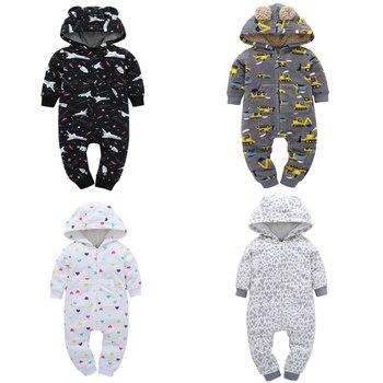 Комбинезон для маленьких мальчиков и девочек; осенне-зимняя одежда; флисовый костюм унисекс с капюшоном и длинными рукавами для новорожден... >> gu ju jua Store