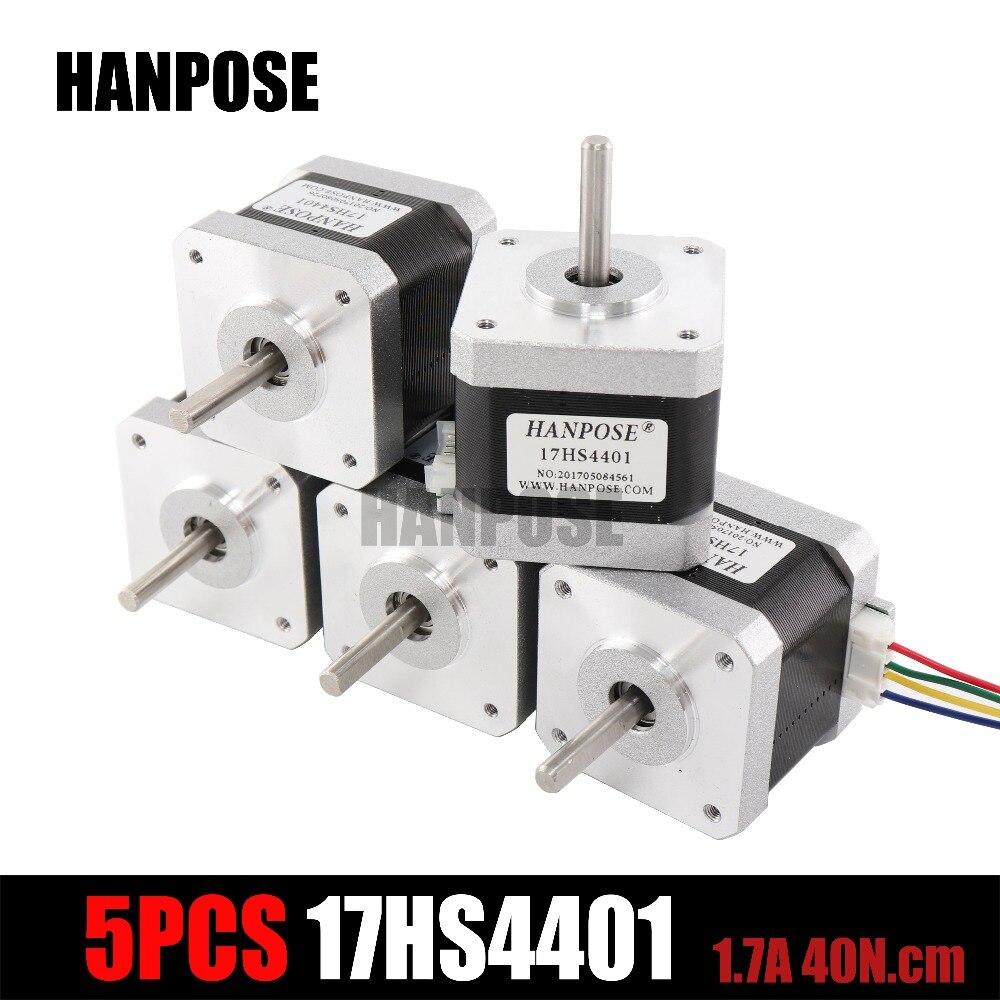 Envío libre 5 piezas 4 Plomo Nema17 40mm Stepper Motor 42 motor Nema 17 motor 1.7A (17HS4401) 3D impresora y CNC XYZ