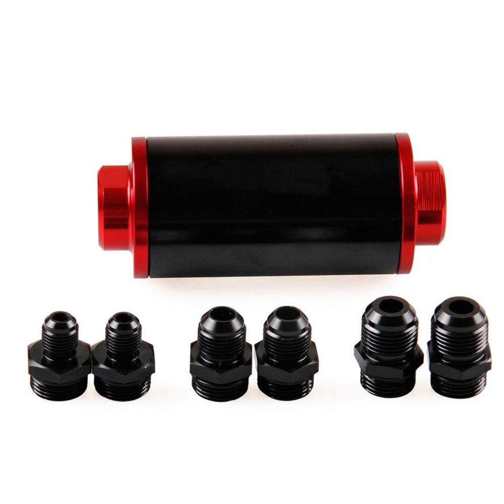 58mm filtre rouge 100 microns nettoyable en ligne filtre à carburant montage universel haut débit Turbo 6AN 8AN 10AN adaptateur