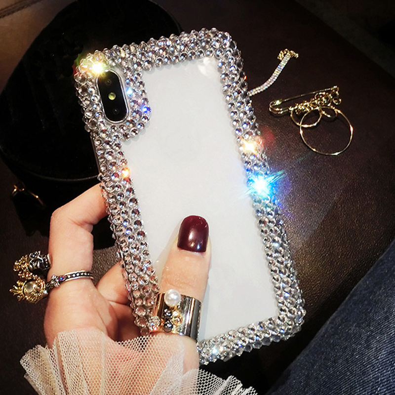 White Diamond Phone Frame Case Cover For Samsung Galaxy J7 J5 J3 J2 Prime J1 Mini 2015 2016 2017 Clear Protective Shell Skins