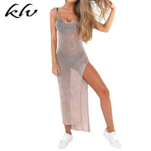 Women Sexy Summer Sunscreen Sheer Mesh Bikini Cover Up Metallic Solid Color Backless High Slit Beach Club Party Sleeveless Dress slit sleeve metallic tee