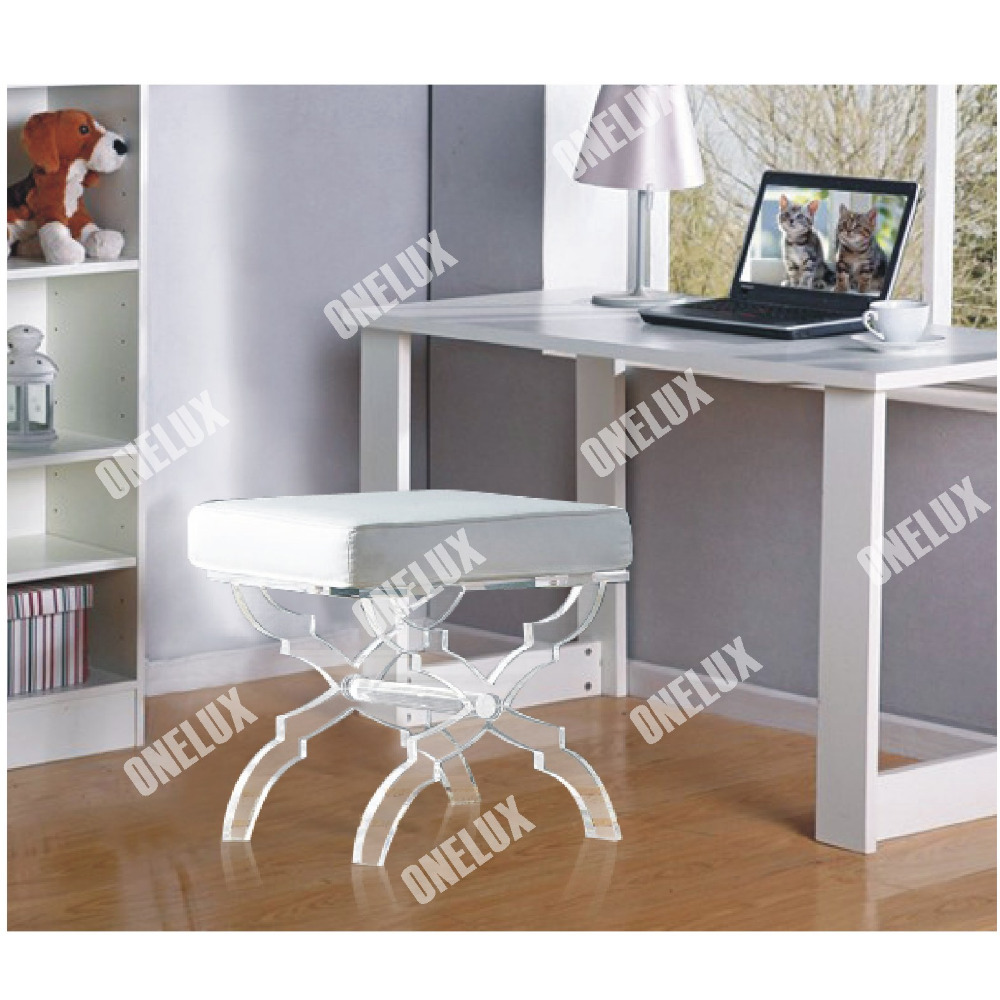 Acrylic X Base Stool Linen Seat Lucite X Leg Vanity Stool Ottomans Bench With Cushion From Reliable Vanity Stool Suppliers On Terrace Furniture And