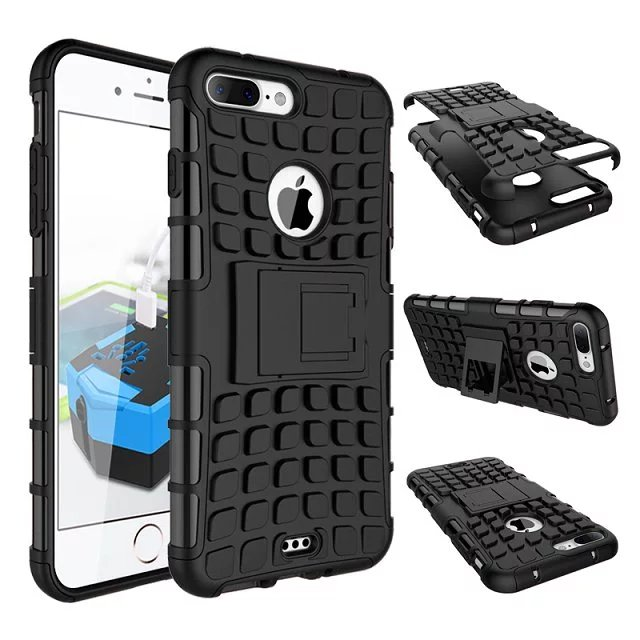 For Apple iPhone 7 Plus 5.5 inch PC + Silicone Dual Layer Kickstand Military Rugged 3D Case For iPhone7Plus Shcockproof Cover