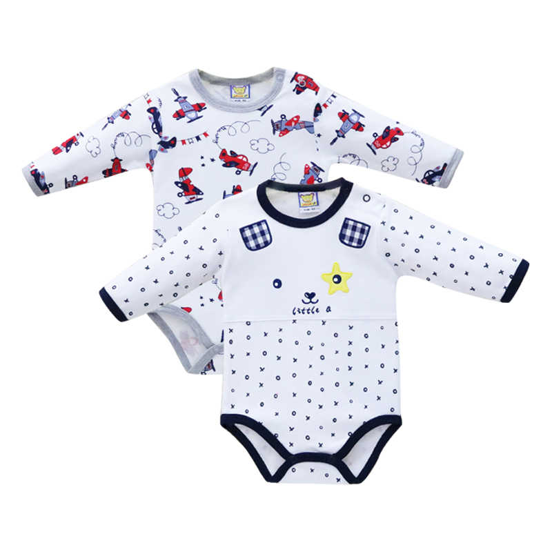 Pure Cotton 2 Pieces/lot Boys Bodysuits Long Sleeve Baby Clothes for Newborn Button Overalls Toddler Clothing 2019