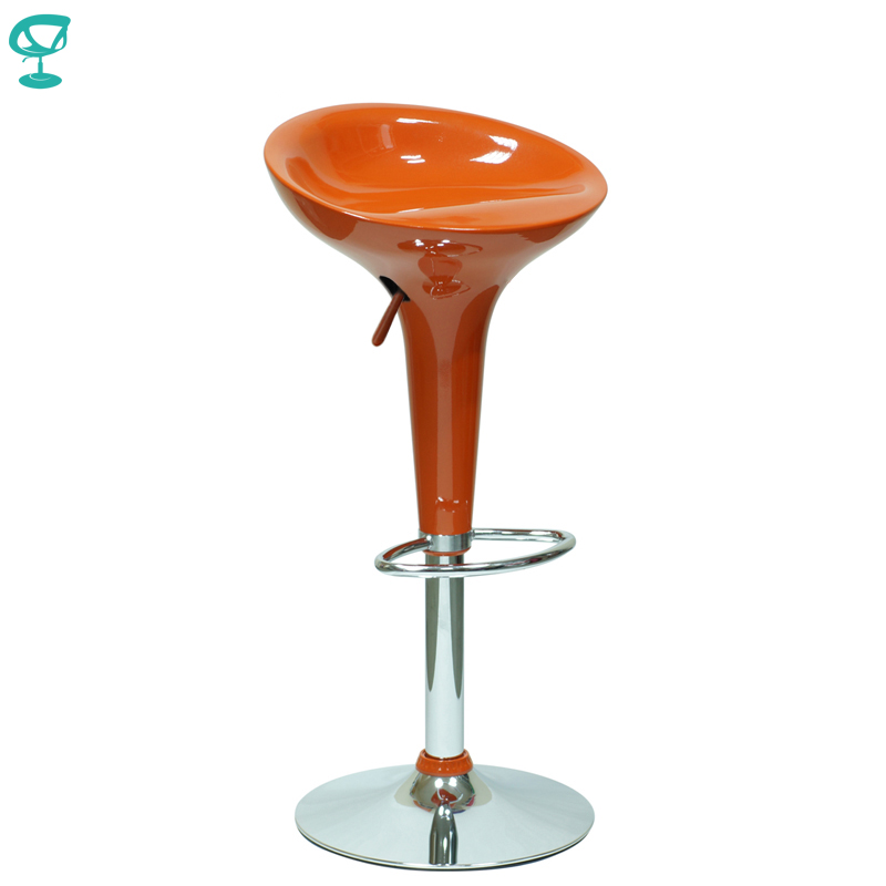 94387 Barneo N-100 Plastic High Kitchen Breakfast Bar Stool Swivel Bar Chair Orange Free Shipping In Russia
