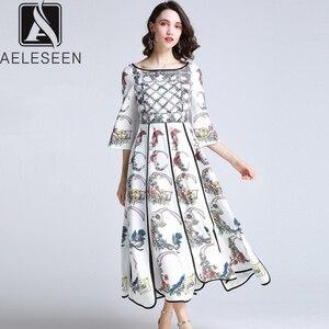 Image 1 - AELESEEN Summer Bohemian Women Long Dresses Luxury Flare Sleeve Runway Fashion 2019 Floral Print Asymmetrical Designer Dress