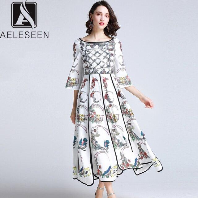AELESEEN Summer Bohemian Women Long Dresses Luxury Flare Sleeve Runway Fashion 2019 Floral Print Asymmetrical Designer Dress