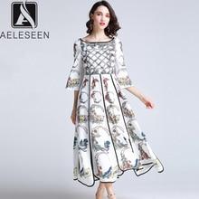 AELESEEN Yaz Bohemian Kadınlar Uzun Elbiseler Lüks Flare Kol Pist Moda 2019 Çiçek Baskı Asimetrik Tasarımcı Elbise