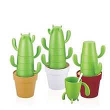 Verkauf nette kreative grün kaktus jenga wasser kaffee saftig tasse set weihnachtsgeschenk