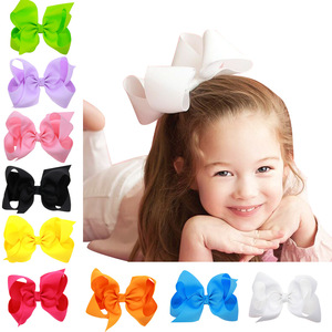 Image 2 - 6 Inch Solid Hair Bow With Clip For Girl,Boutique Ribbon Hair Bow For Kids Classic Handmade Hair Accessories 30pcs/lot