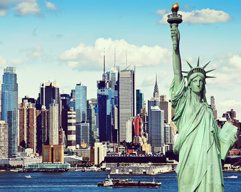 Custom wallpaper Statue of liberty building background wall painting