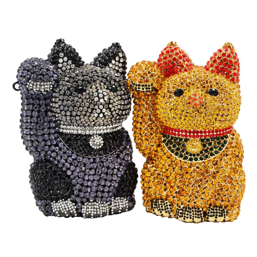 Прекрасный кот приносящий удачу Роскошная сумочка для вечеринок золотисто-серая женская сумка-клатч со стразами Блестящий Банкетный Пакет SC654