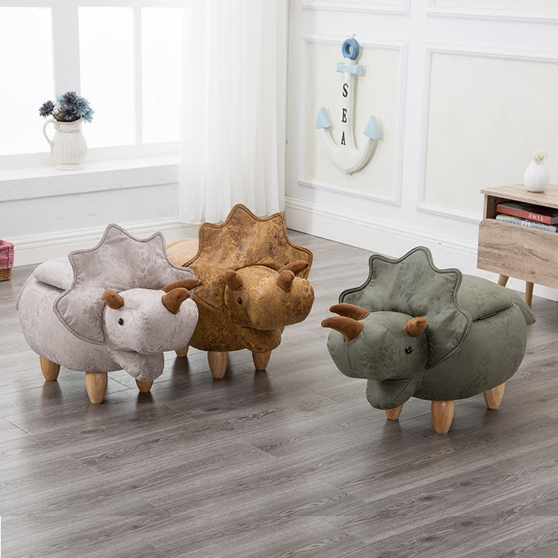 Mini Cute Dinosaur-Shape Creative Wooden Footstool Sturdy Storage Shoe Bench Sofa with Bronzing Fabric Wooden Legs 10 Color