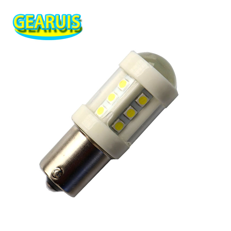 DHL 100X S25 1156 BA15S Ceramic LED 3030 18 SMD 1157 BAY15D 6000K White Brake Lights Reverse Lamp DRL Car Tail Bulb 12V to 24V dhl eub 2pcs nok pptf gl8 10 tp 15 18