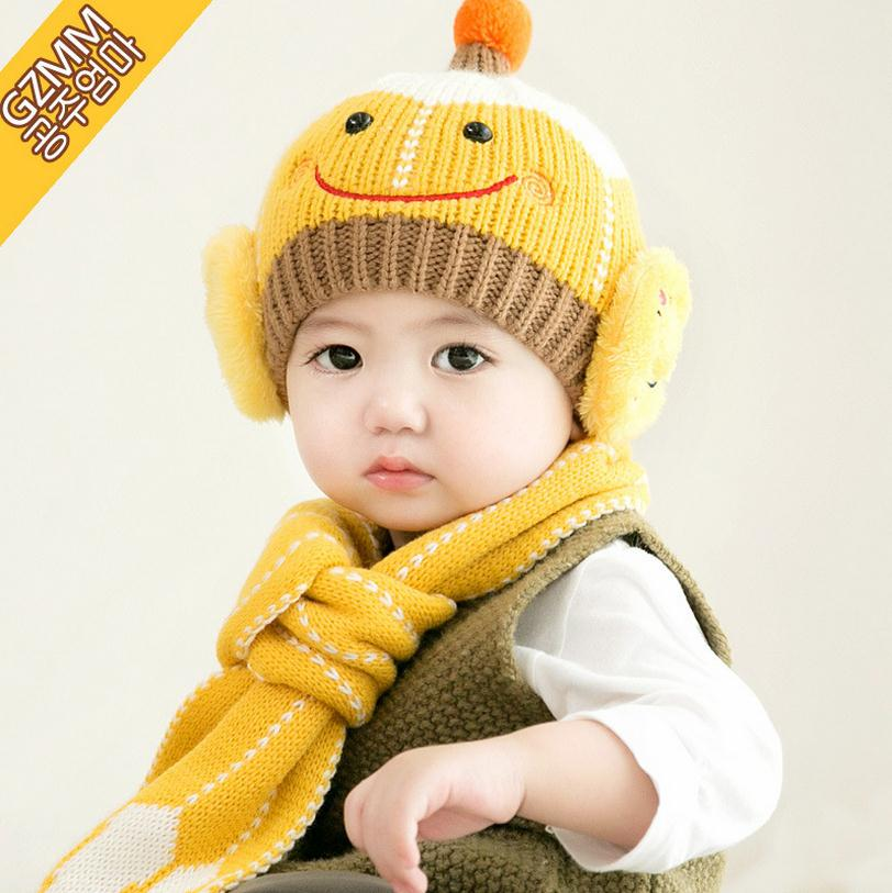 2016 Korean Smile Face Kids Boys Knitted Hats Winter 2 Pcs Baby Girl Scarf Hat Set Age For 6 Months-3 Years Old MZ4087