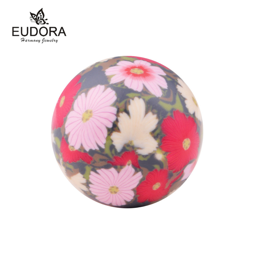 Lovely Flower Painting Sweet Sound bell Chime Ball 20mm inner Ball fit Angel Caller Locket Cage Pregnant Jewelry