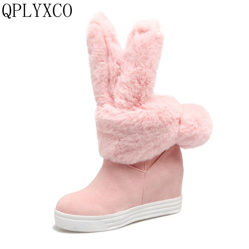 QPLYXCO Plus new Big Size 34-43 Russia shoes Woman Winter Plush Warm Snow Boots Sweet  Women shoes Round Toe high hells Shoes H9 free shipping 2016 new winter women snow boots plus size 34 43 round toe lace up warm sweet pink martin boots boty