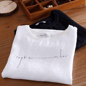 Image 2 - קיץ Mens מודפס פשתן חולצות אופנה שרוולים אותיות לנשימה פשתן חולצה מצויד קצר שרוול עגול צווארון רופף בסוודרים