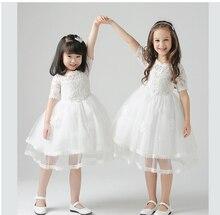 Новый детская одежда элегантный белый lece лук девочки платья цветок девочки платья для партии и свадебное платье childre