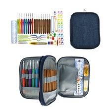 Crochet Hook Set With Blue Cowboy Bag Bamboo Knitting Sewing Needles Full Knit Gauge Scissors Stitch Holder DIY Craft Tools